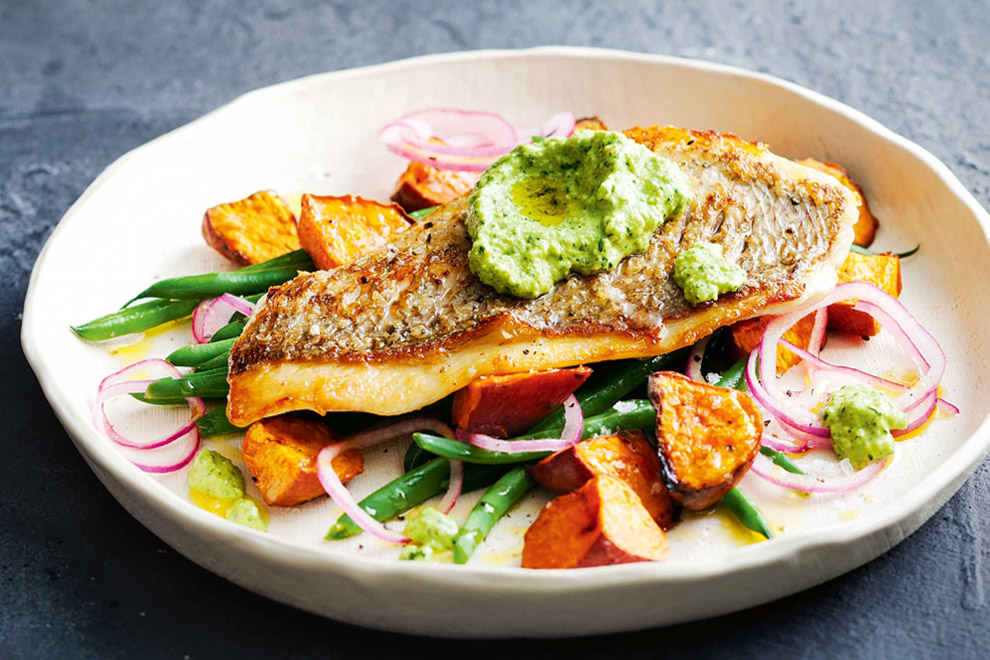 Trout with Macadamia Pesto and Bean Salad