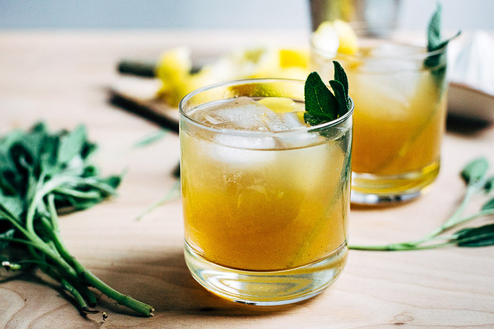Sage and Honey Infused Bourbon Cocktail